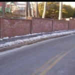 New Brick boundary wall at Lincoln Elementary School- Brookline, MA