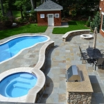 New Bluestone Patio, Seating Walls & Pool Capping - Chestnut Hill MA